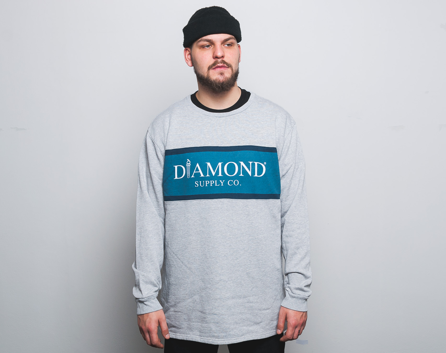 Mikina Diamond Supply Co. Mayfair Fleece Top Heather Grey